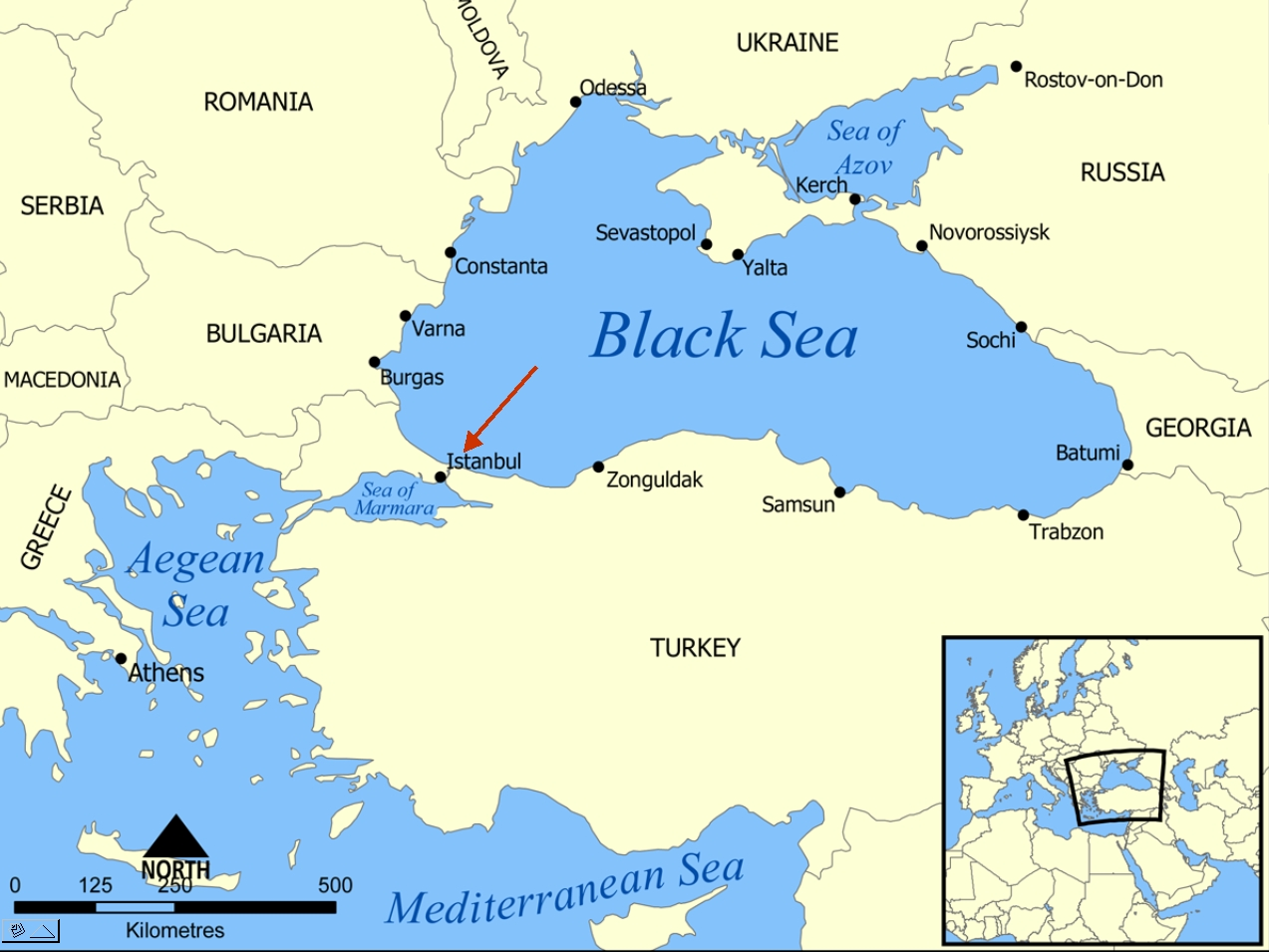 the black sea Black sea: black sea, large inland sea situated at the southeastern extremity of europe it is bordered by ukraine to the north, russia to the northeast, georgia to the east, turkey to the south, and bulgaria and romania to the west.
